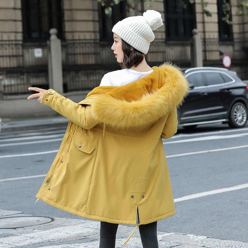 2019 新暖かい厚手のベルベットの女性長綿コート秋冬フェイクファーパーカー女性固体ビッグポケットジャケット生き抜く GYZ003