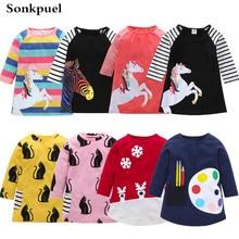 Детское платье для девочек от 1 до 7 лет платья с длинными рукавами для малышей летняя детская одежда хлопковое платье принцессы для девочек детские топы, костюмы