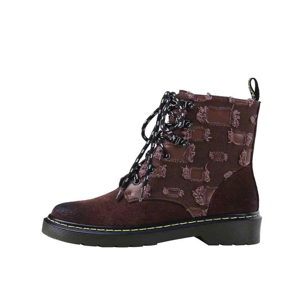 Lenkisen vintage tasarım batı çizmeler inek süet dantel up yuvarlak ayak med topuklar punk serin kış sıcak kadınlar moda yarım çizmeler l33