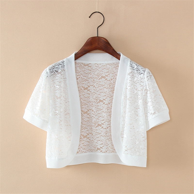 Wraps Jackets 2019 Women Ladies Short Sleeve Cropped Shrug White Black Lace Accessories Jacket V Neck