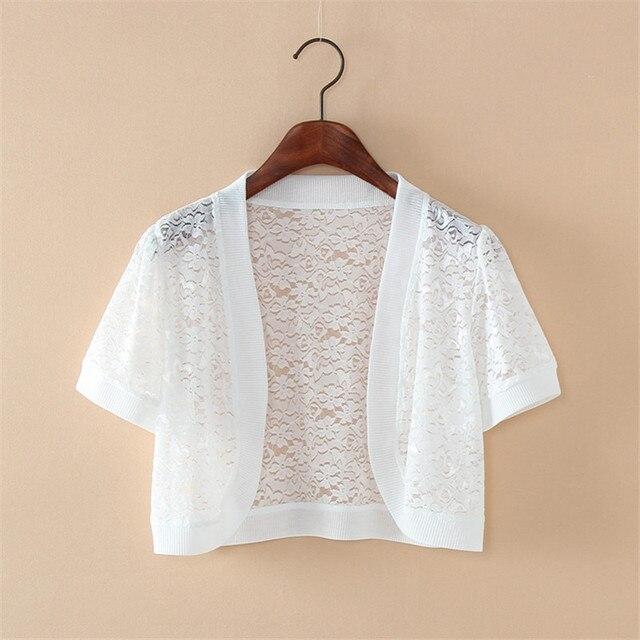 Wraps Jackets 2019 Women Ladies Short Sleeve Cropped Shrug White Black Lace Accessories Jacket V Neck