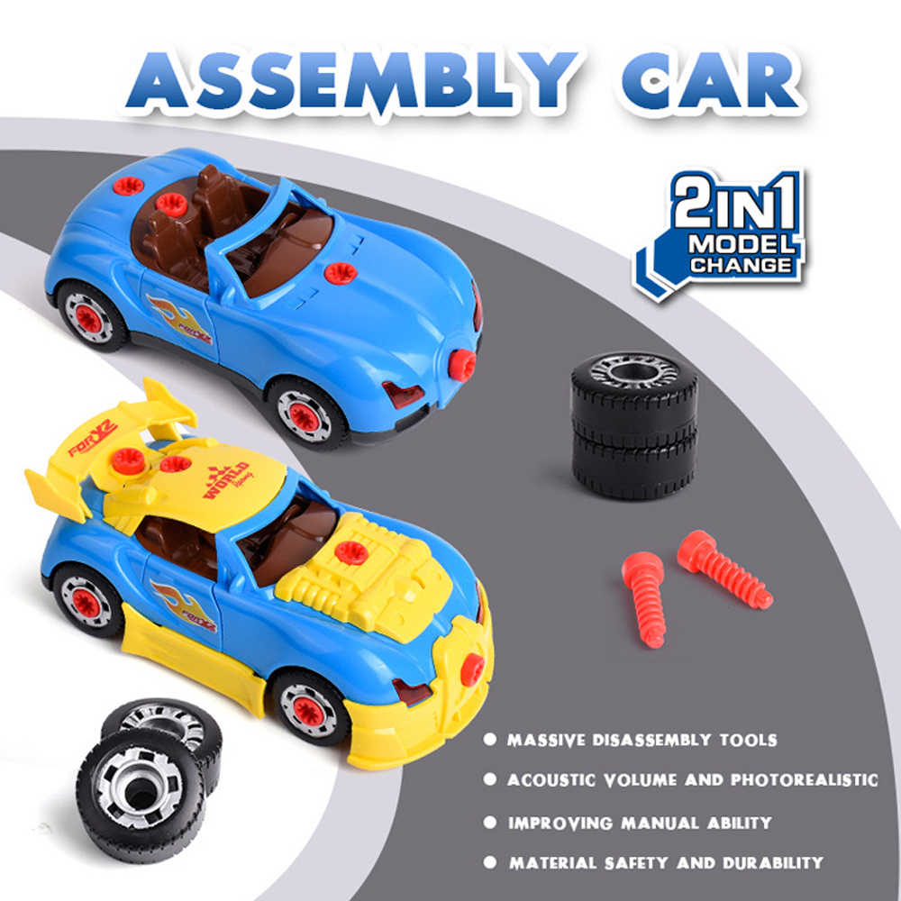 Kids Boor Speelgoed 2 in 1 Modellering Assemblage Auto Kit Met Geluid Licht Schroef Noten Bouw Blokken Auto Speelgoed voor kinderen Gift