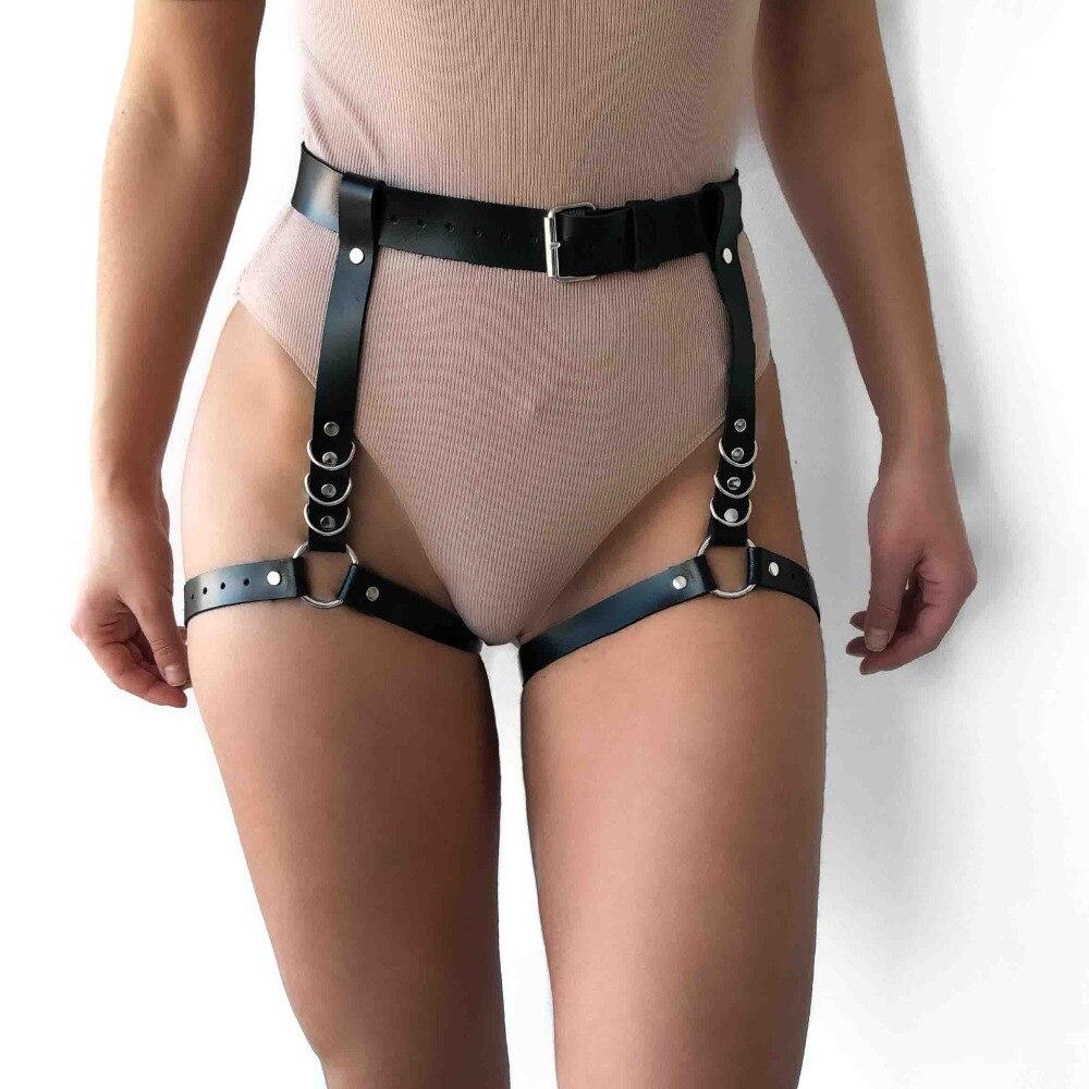 Sword Belt Harajuku Handmade Leather Punk Goth Bdsm Garters Belt Lingerie Erotic Suspenders Strap Detachable O-ring Leg Harness