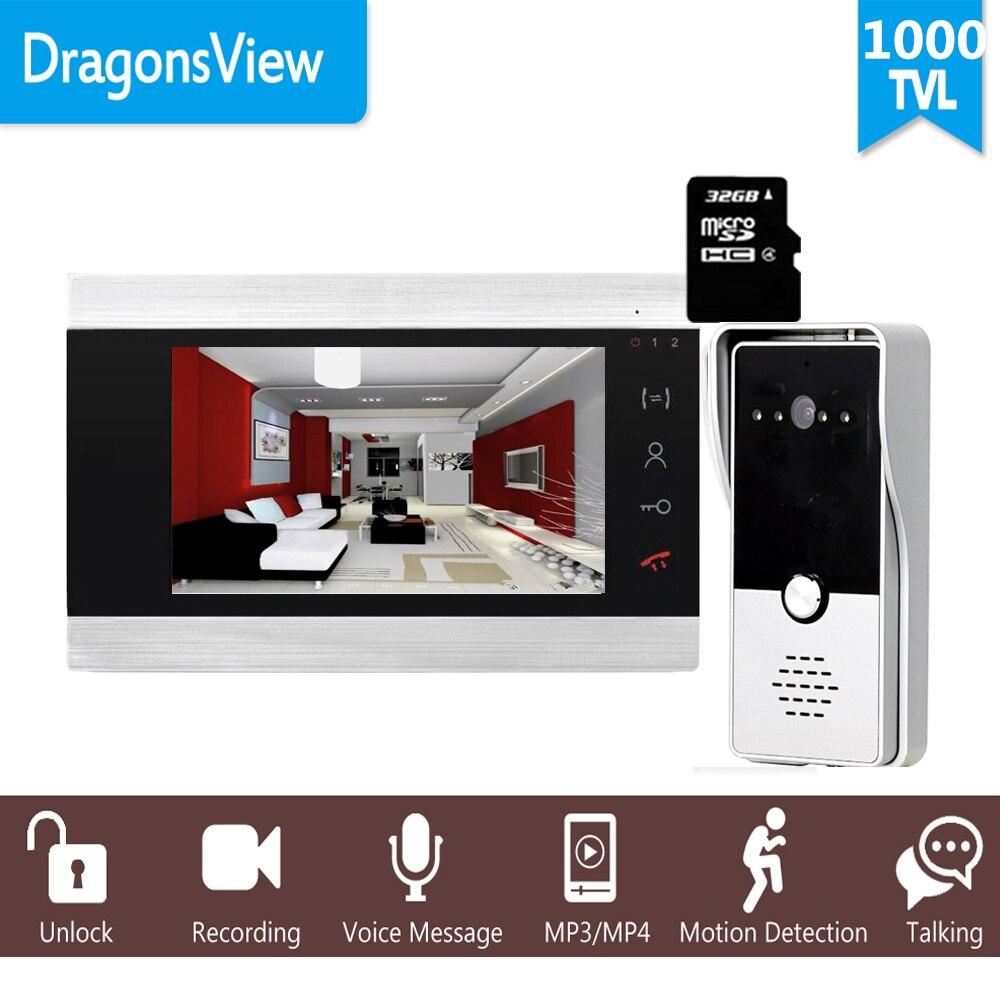 """Dragonsview 7 """"有線ビデオインターホン電話録音 Sd カード 16 ギガバイト金属ドアベルインターホン 1200TVL モーション検出 -"""