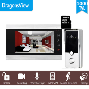 "Image 1 - Dragonsview 7 ""Wired וידאו דלת מערכת אינטרקום טלפון הקלטת SD כרטיס 16GB מתכת פעמון אינטרקום 1200TVL זיהוי תנועה"