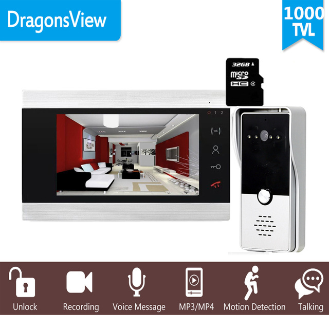 "Dragonsview 7 ""Wired וידאו דלת מערכת אינטרקום טלפון הקלטת SD כרטיס 16GB מתכת פעמון אינטרקום 1200TVL זיהוי תנועה"