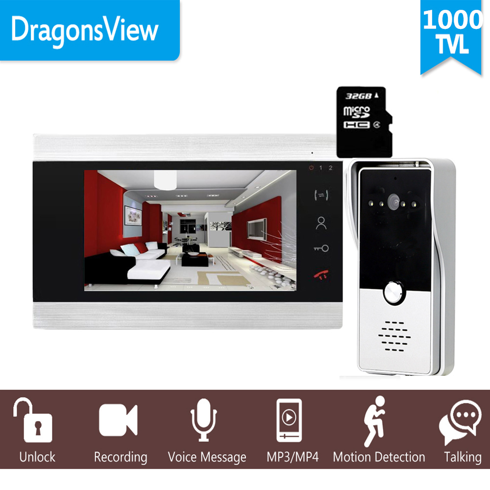 "Dragonsview 7"" Wired Video Intercom System Door Phone Recording SD Card 16GB Metal Doorbell Intercom 1200TVL Motion DetectionVideo Intercom   -"