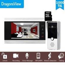 "Dragonsview 7 ""kablolu görüntülü interkom sistemi kapı telefonu kayıt SD kart 16GB Metal kapı zili interkom 1200TVL hareket algılama"