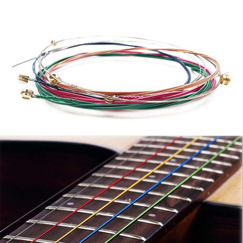 Colorful Guitar Strings 6Pcs Rainbow Acoustic Guitar Strings E-A For Acoustic Folk Guitar Classic Guitar Multi Color