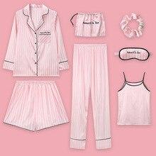 Pajamas Women pajamas Sets Sleepwear 7pcs/set like sleepwear for women nightgown babydolls women pajamas set with Eye mask