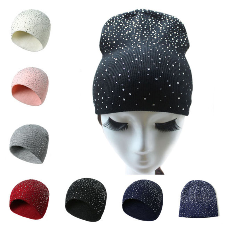 Spring Atumn Winter Hats for Women Knitted   Beanie   Hat Cap for Girls Wool Brand Hat with shining Rhinestone Female Casual Hats