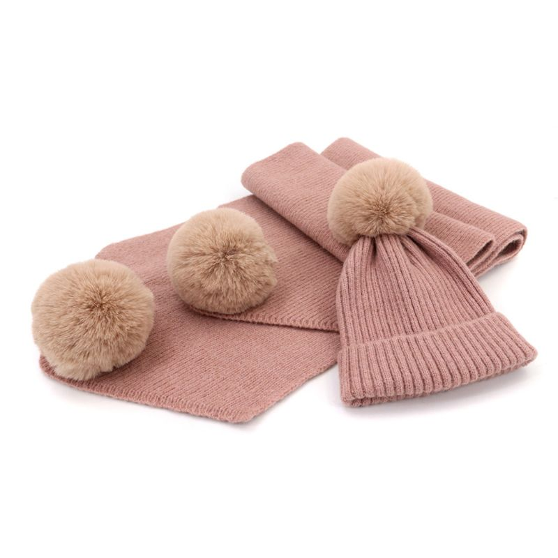 2Pcs/Set Adult Children Winter Knit Faux Wool Fluffy Pompom Hat Long Scarf Set High Quality And Brand New