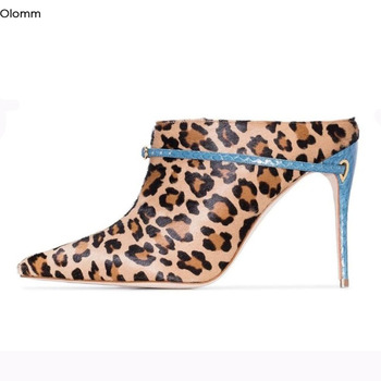 Olomm New Handmade Women Pumps Stiletto Heels Pumps Charm Pointed Toe Gorgeous Leoaprd White Party Shoes Women Plus US Size 4-13