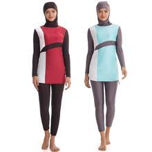 Hijabชุดว่ายน้ำBurkiniแขนยาวMuslimahชุดว่ายน้ำผู้หญิงอิสลามHabit Femme Burkinis Patchworkสีมุสลิม