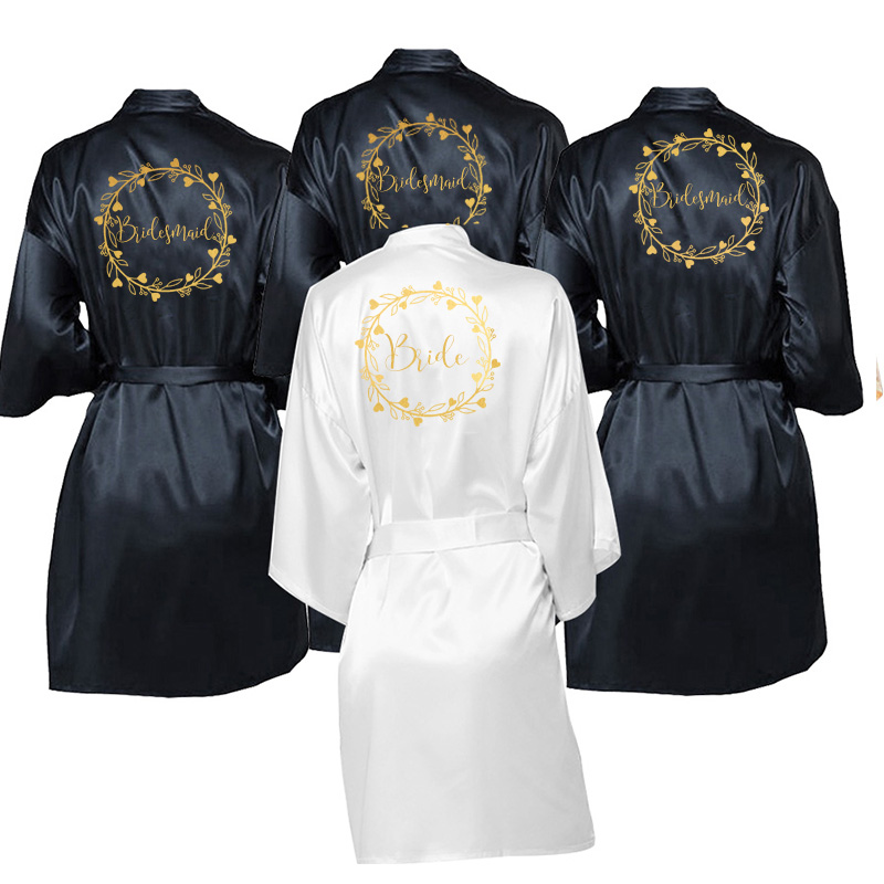Wedding Satin Dressing Gown, Personalised Satin Robe (Other Colours Available), Party Satin Robe Bridesmaid Robe