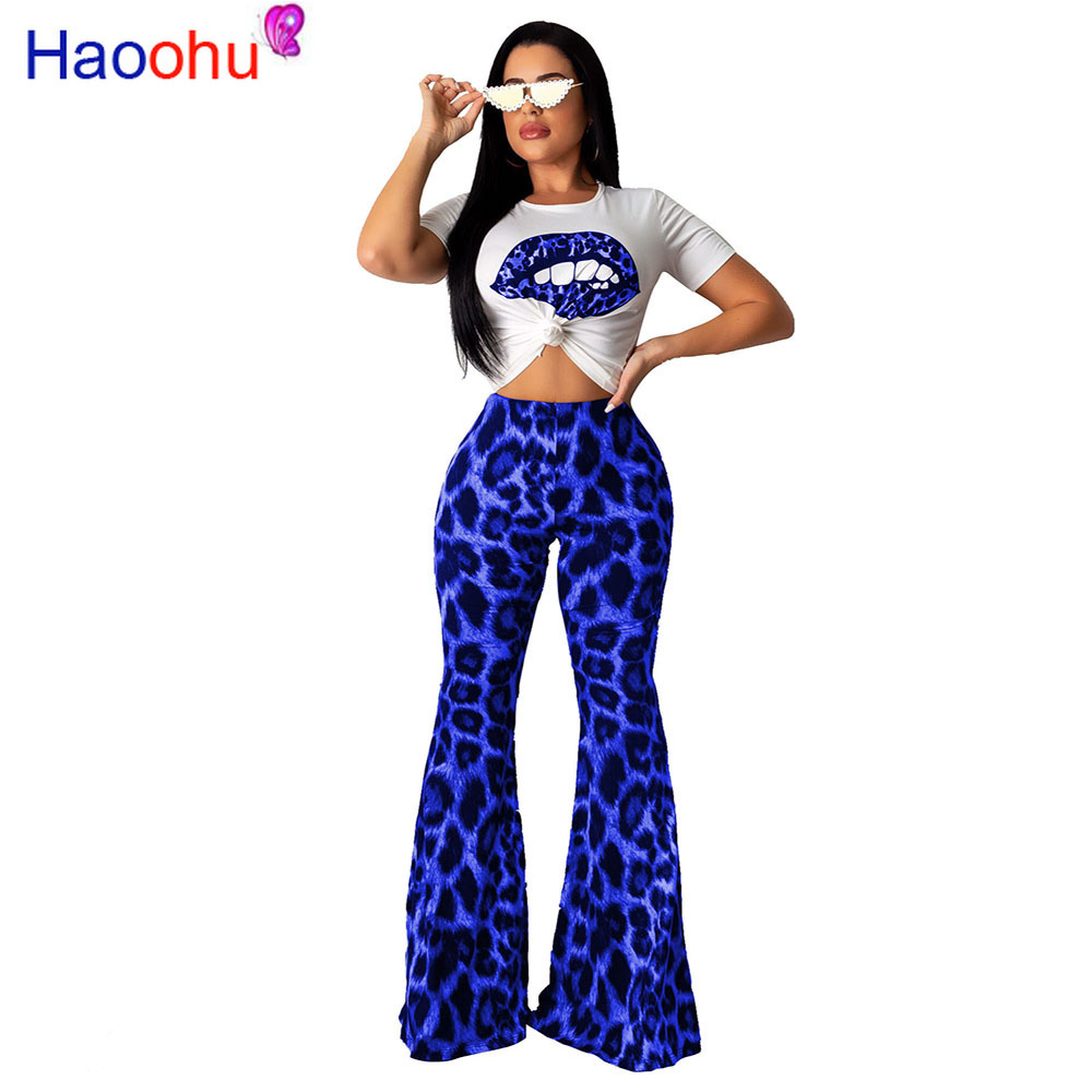 HAOOHU new product <font><b>2019</b></font> <font><b>summer</b></font> <font><b>sexy</b></font> lady leopard long pant <font><b>set</b></font> <font><b>short</b></font> sleeve T shirt <font><b>set</b></font> <font><b>sexy</b></font> lady streewear fashion new <font><b>set</b></font> image