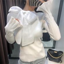 pullover sweater women spring autumn flare sleeve small fragrance bow knitted bo