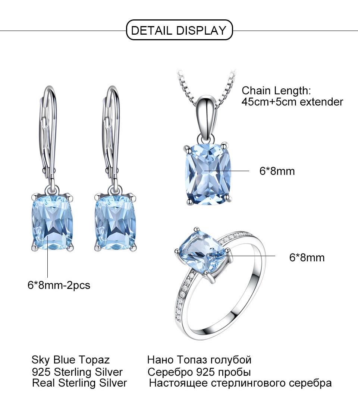 UMCHO Sky blue topaz silver sterling jewelry sets for women S011B-1-PC (11)
