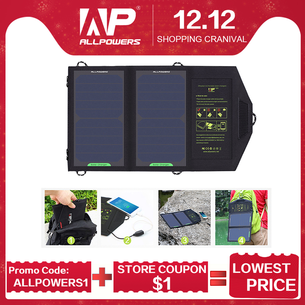 ALLPOWERS <font><b>Solar</b></font> <font><b>Panel</b></font> <font><b>10W</b></font> <font><b>5V</b></font> <font><b>Solar</b></font> Charger Portable <font><b>Solar</b></font> Battery Chargers Charging for Phone for Hiking etc. Outdoors. image