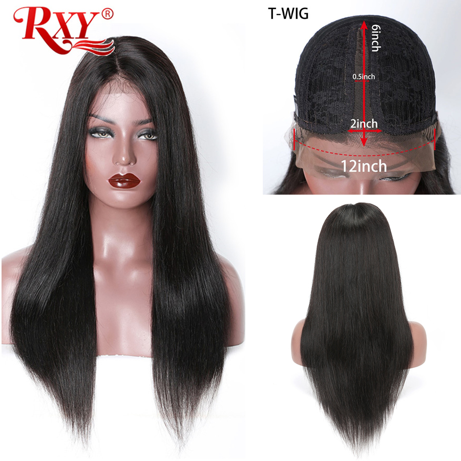 6 Inches T Part Straight Lace Frontal Wig Lace Frontal Human Hair Wigs For Black Women Brazilian Lace Wigs Remy Wigs RXY Hair