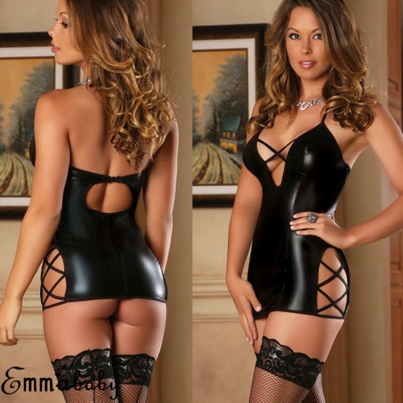 2019 Sexy Backless Solid Black PU Leather Short Dress Latex Bodycon Faux Leather Push Up Bra Mini Dress Hot