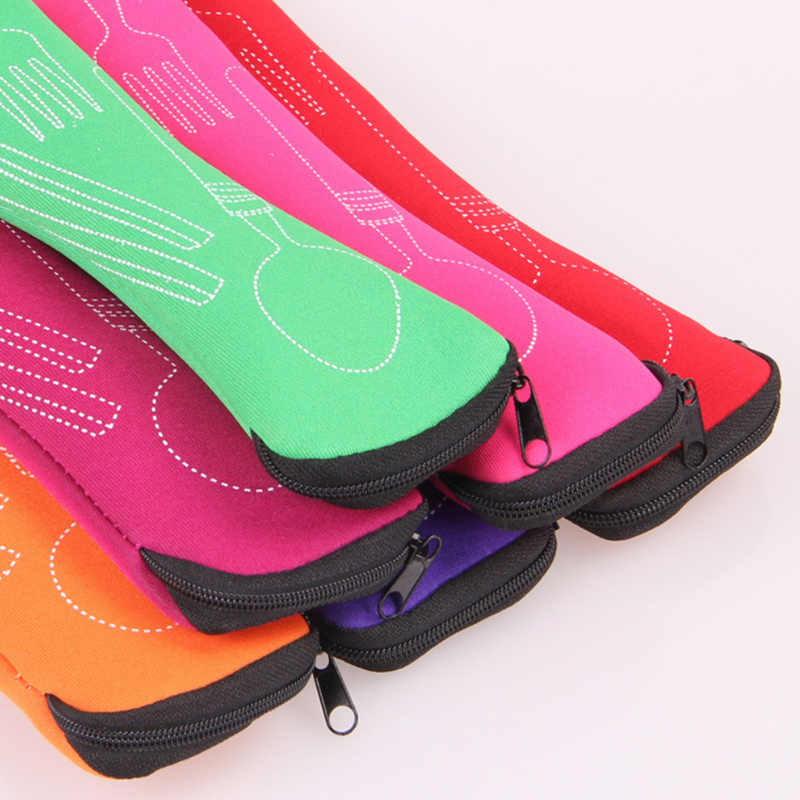 Accesorios de viaje 1 unidad de viaje tenedor portátil de viaje de acero inoxidable cubertería bolsa portátil contenedor de Picnic para niños adultos 2019 nuevo