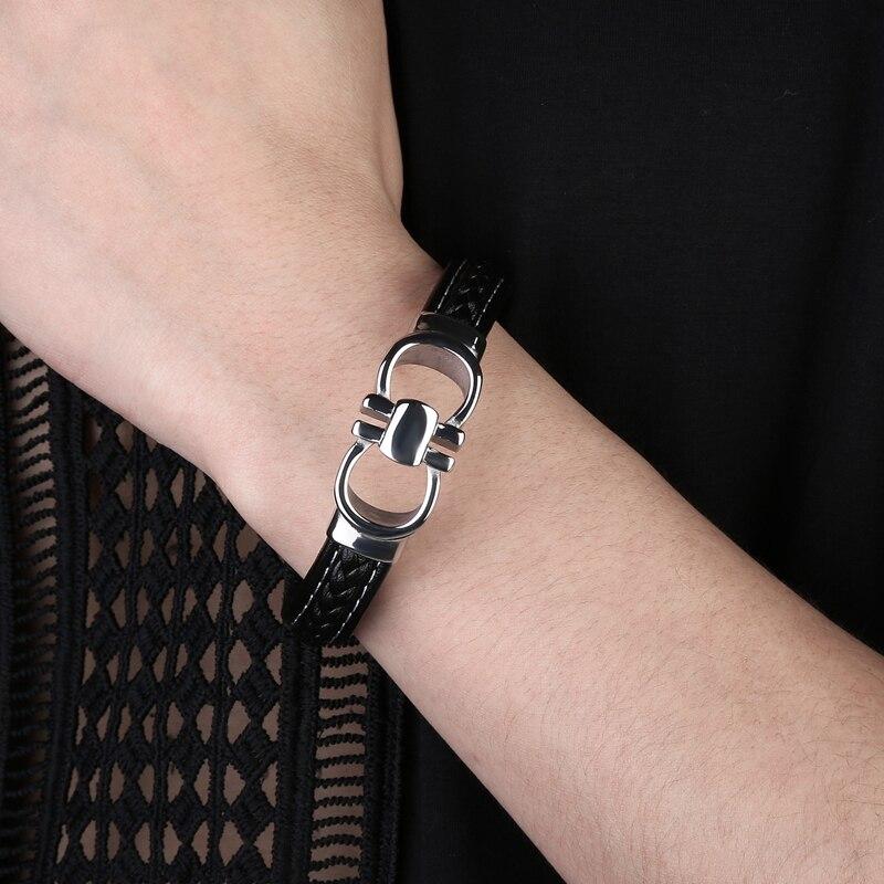 MOZO FASHION Brands Men Trendy Bracelet Black Genuine Leather Charm Bracelets Man Cross Lattice Punk Bangles 5 Color Gift 119