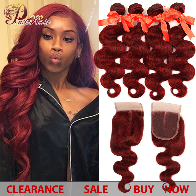 Burgundy Bundles With Closure Red 99J Hair Brazilian Body Wave 4 Bundles With Closure Bundles Human Hair Pinshair Non-remy Hair