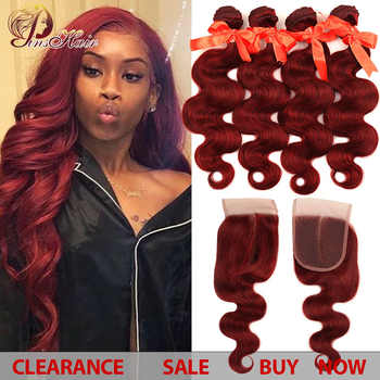 Burgundy Bundles With Closure Red 99J Hair Brazilian Body Wave 4 Bundles With Closure Bundles Human Hair Pinshair Non-remy Hair - DISCOUNT ITEM  52% OFF All Category