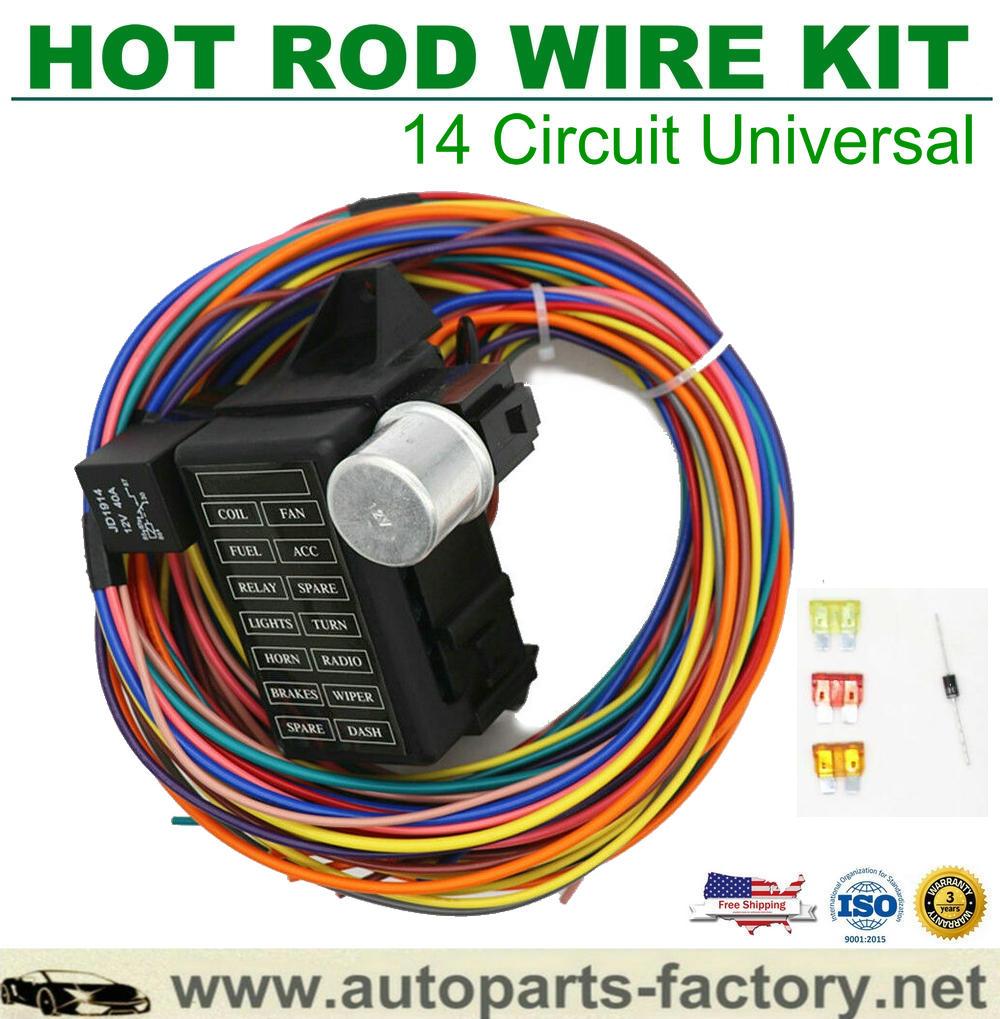 Longyue 14 Circuit Fuse Universal Wire Harness Muscle Car Hot Rod Street Rat XL