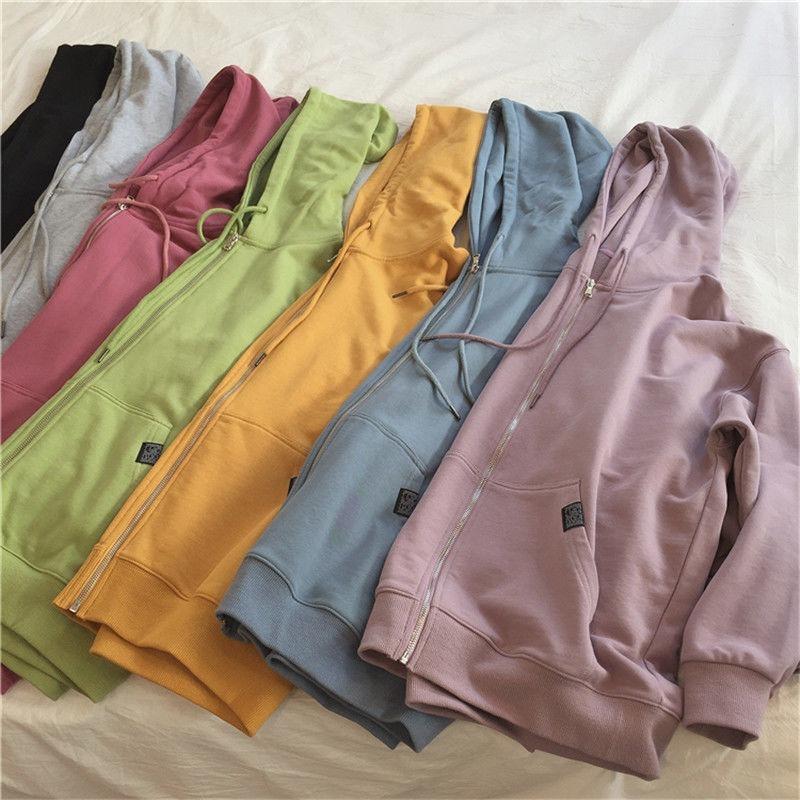 Harajuku с капюшоном, толстовки для женщин, на молнии, с карманом кенгуру, повседневный свободный однотонный свитшот, женский, 2020, модные новые ж...