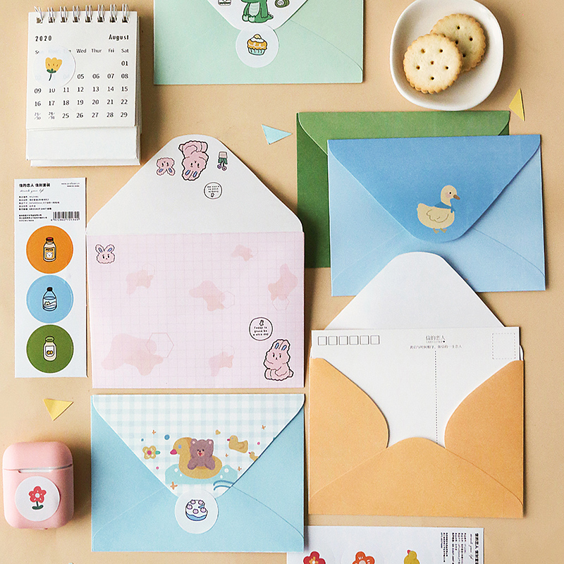 3 Pcs/set Kawaii Fairy Tale Island Series Envelope Message Card Letter Stationary Storage Paper Gift