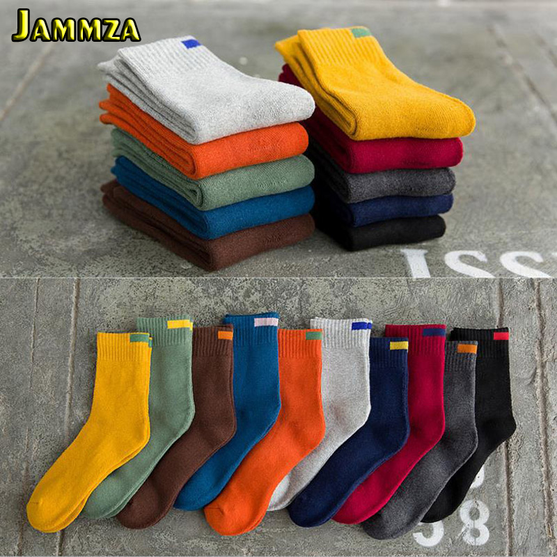 Men Simple Cotton Business Socks Bar Solid Wool Candy Colors Socks Colorful Warm Terry Towel Wild Style Black Fashion Winter Sox