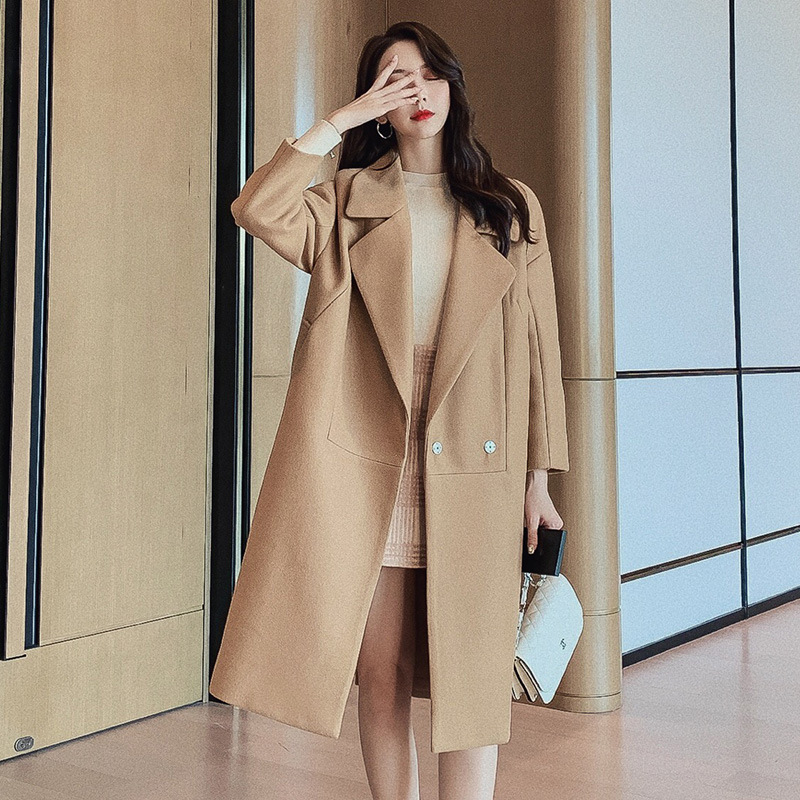 Womens Wool Coats European Style High Quality Autumn Winter Jackets Slim Woolen Cardigan Long Overcoats