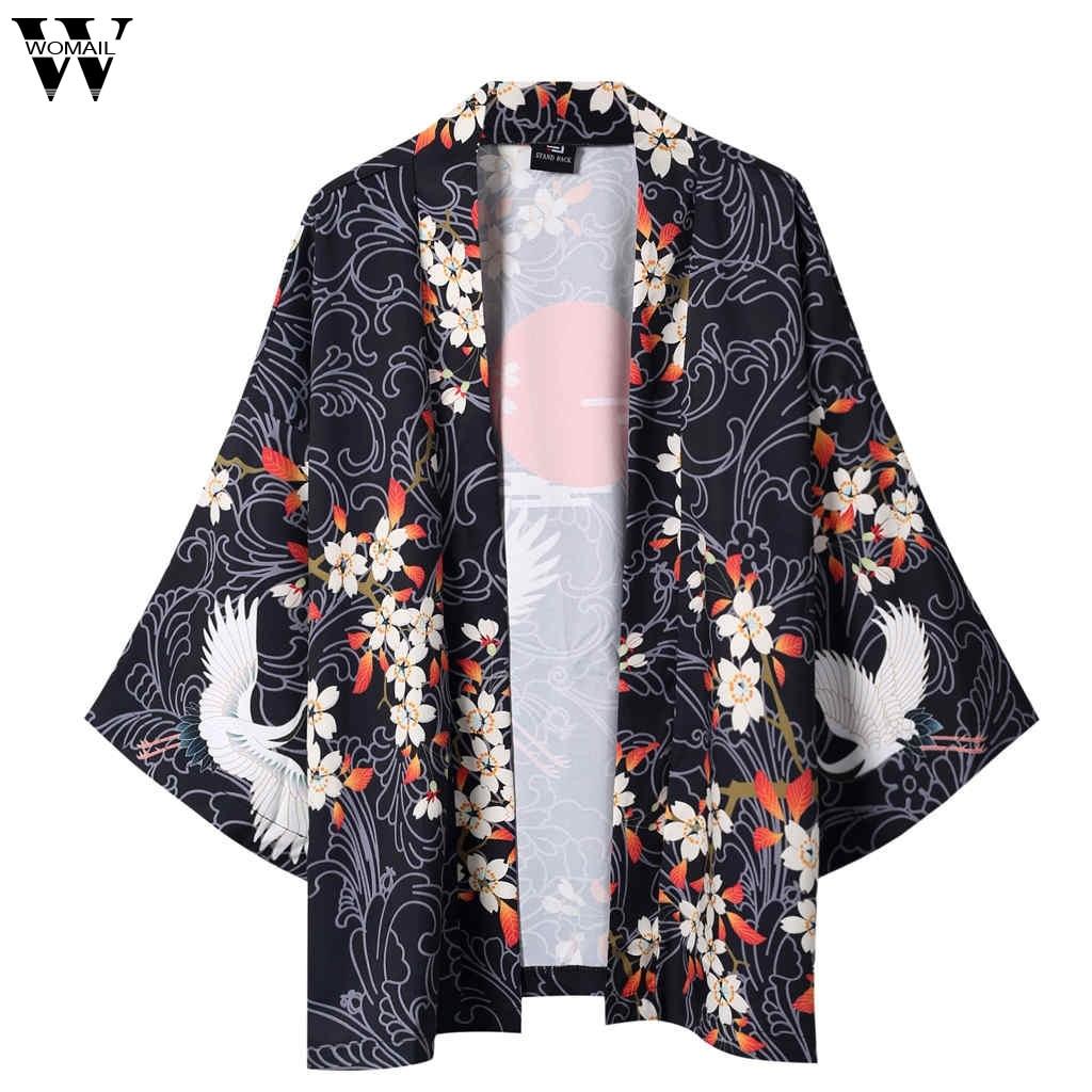Womail Kimono Cardigan Rebeca-De-Los Japanese Jacket Cloak Trench Black Mens And JL26