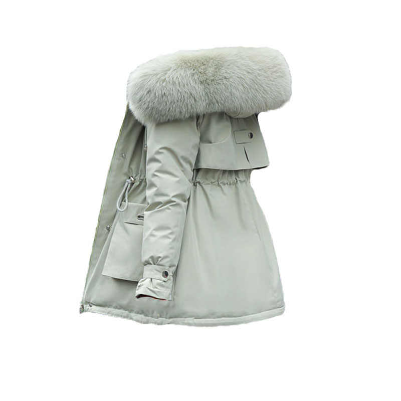 Plus Size Losse Katoen Gewatteerde Lange Jas Warm Thicken Capuchon Vrouwen Bovenkleding Mode Grote Bontkraag Parka Vrouwelijke Winter Jas
