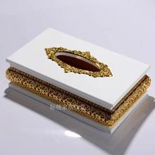 High grade European style tissue box white wood gold tissue box luxury home decoration napkin box fashion creative drawer