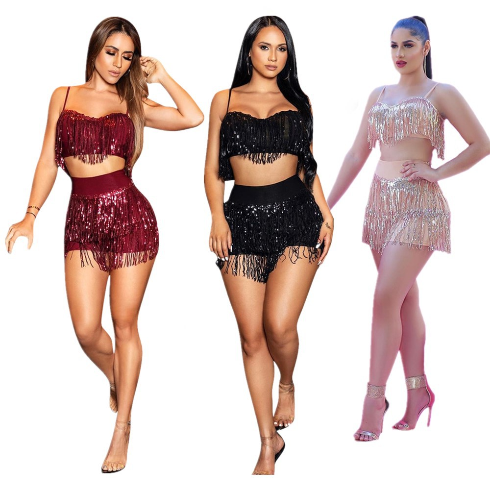 Новинка 2020, женские комплекты FNOCE, соблазнительный ночной клуб, модные тренды, соблазнительный однотонный жилет с кисточками и шорты, костюм...
