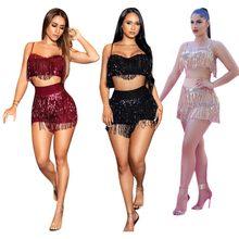 Fnoce 2020 novos conjuntos femininos sexy boate moda tendências seputed borla sólido sexy colete e shorts ternos 2-pc
