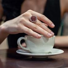 Gems BALLET 3.88Ct 여성을위한 라운드 천연 붉은 가닛 보석 반지 925 스털링 실버 빈티지 칵테일 반지 파인 쥬얼리