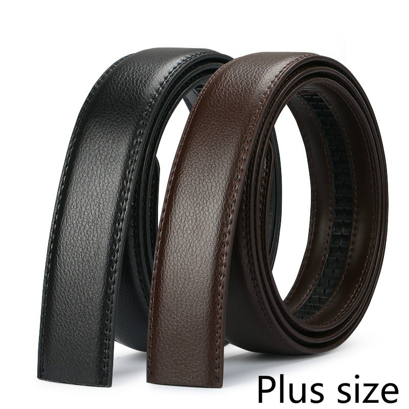 Men's Plus Size Belt Cowhide Leather 150cm Strip Automatic PU Waistband No Buckle 3.5CM Men Jeans Belts Brown Body Lengthened140