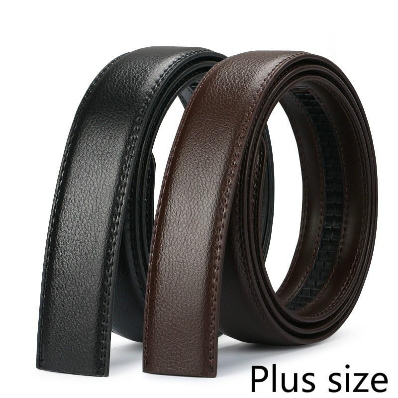 Men's Plus Size Belt Cowhide Leather 150cm Strip Automatic PU Waistband No Buckle 3.5CM Men Jeans Belts Brown Body Lengthened140