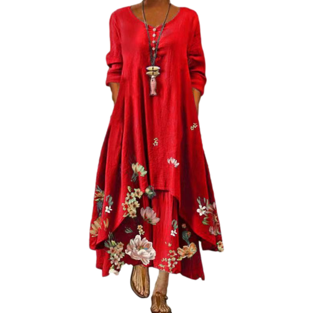 Dress 2021 summer style European and American fashion popular printed long sleeved dress female ins online trend hot sale B060 Women Women's Abaya Women's Clothings
