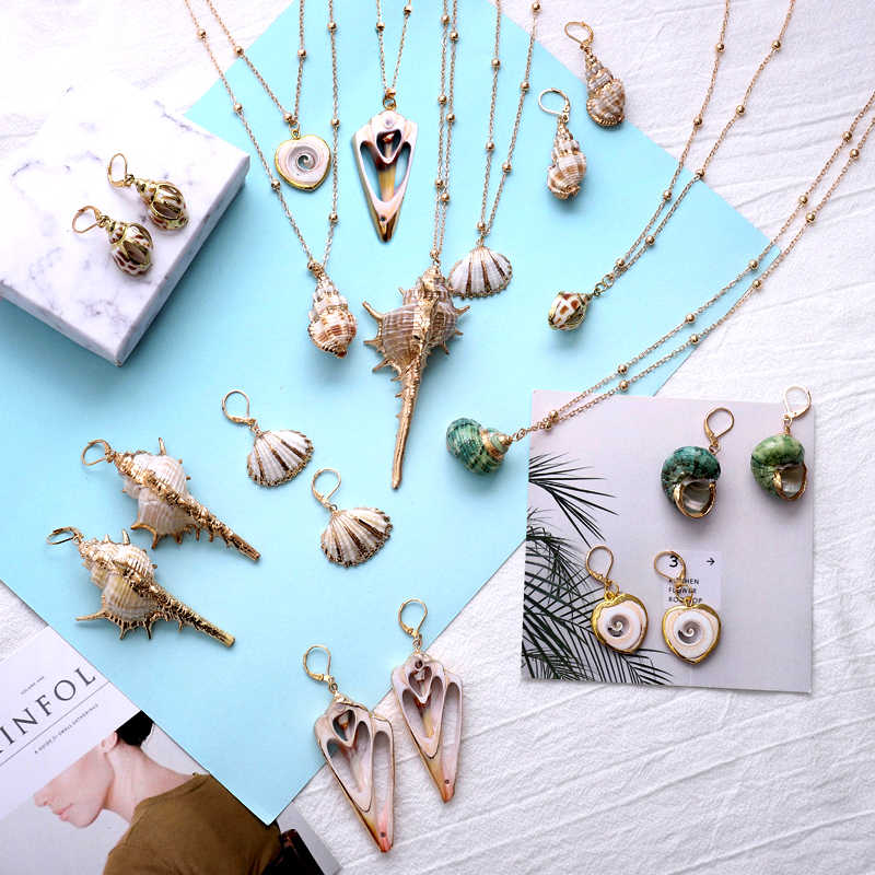 Exknl Bohemian Conch Shell Pendant Necklaces For Women Vintage Gold Color Long Choker Necklaces Ocean Jewelry Gifts Collier 2019