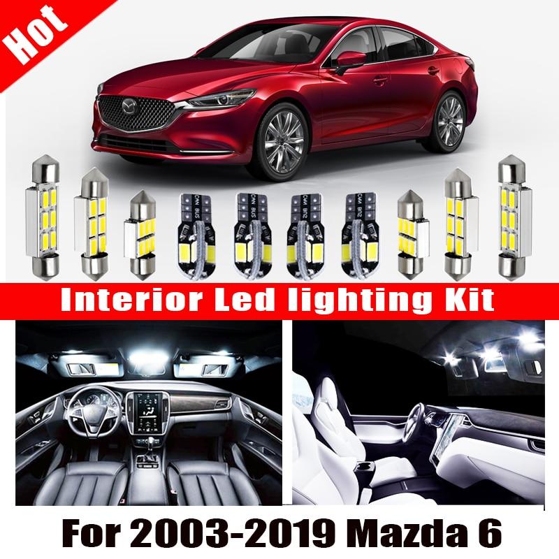 Автомобильные аксессуары, светодиодная лампа Canbus для салона Mazda 6 2003-2016, 2019, белый цвет