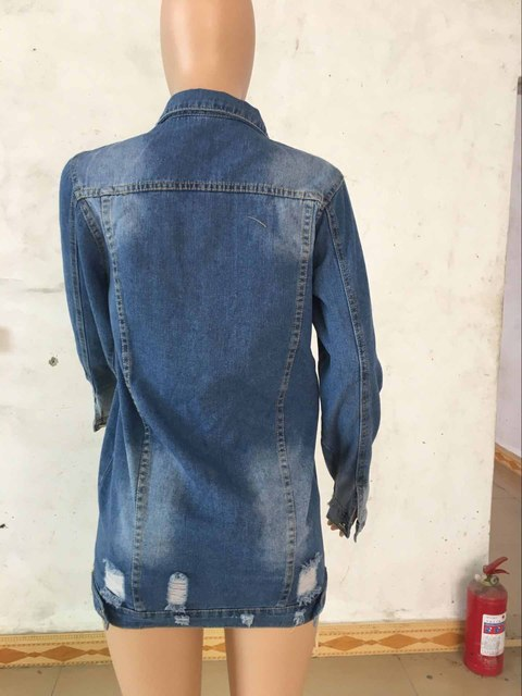 Autumn Winter Women Hole Ripped Denim Jacket 2019 Harajuku Jean Jacket Loose Long Sleeve Female Coats Plus Size Female WDC3994 4