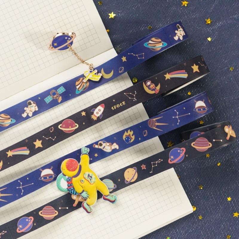 1.5cm Planetary Cosmonaut Travel Around Space Journal Washi Tape Adhesive Tape DIY Scrapbooking Sticker Label Masking Tape