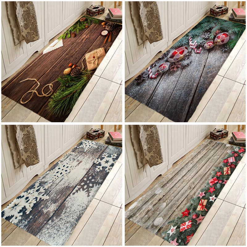 3D Printing Christmas Tree Carpet Christmas Doormat Christmas Kitchen Rugs For Bedroom Living Room Bathroom Anti-Slip Floor Mats