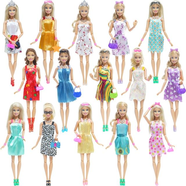 42 Item/Set Doll Accessories = 10Pcs Shoes + 8 Necklace 4 Glasses 2 Crowns 2 Handbags + 8 Pcs Doll Dress Clothes for Barbie Doll 2