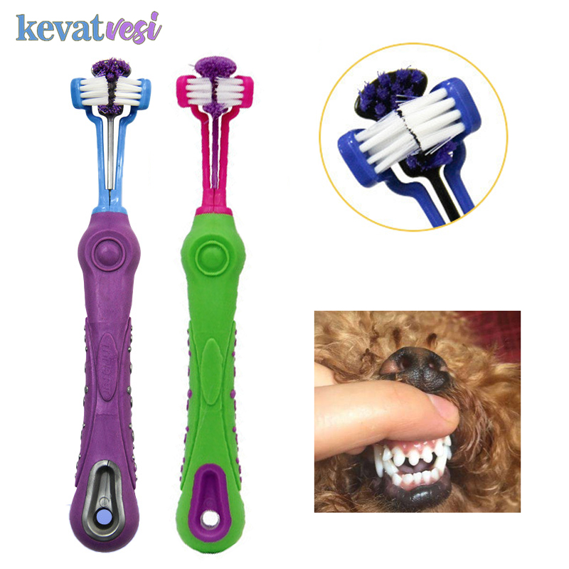 Three Sided Dog Pet Toothbrush Bad Breath Tartar Teeth Care For Cat Dog Tooth Cleaning Brush Soft Pet Finger Toothbrush